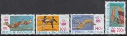 Indonesia 1985 - National Sports Week: Parachuting, Martial Arts, Highjumping, Windsurfing - Mi 1177-1180 ** MNH - Indonesia