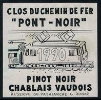 Etiquette De Vin // Pinot Noir Du Chablais Vaudois, Vaud, Suisse - Trains