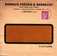 France Gignoux Frères & Barbezat Perforé GM 9 4 1937 Décines Sur Type Paix (perfin) - France