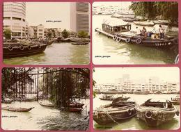 Old 1977 Photograph,The RIVER Singapore Chineses TONGKONGS & SAMPANS - 4Photos, NOT Postcard Collection-Singapore (UNC) - Singapore