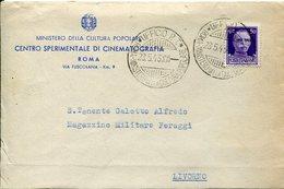 37070 Italia, Circuled Cover 1943 Roma Ufficio PT Ministero Della Cultura Popolare, Cinematografia - Cinema