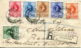 Swaziland 1939 KGVI Definitives On Registered Cover To Switzerland - Swaziland (...-1967)