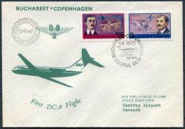 1973 Romania Denmark SAS First Flight Cover - Aéreo