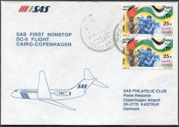 1988 Egypt Denmark SAS First Flight Cover. Cairo - Copenhagen - Airmail