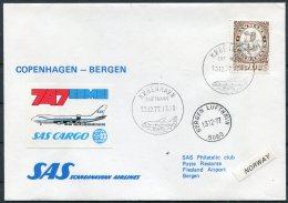 1977 Denmark SAS First Flight Cover. Copenhagen - Bergen Norway - Airmail