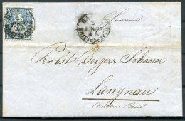 1863 Switzerland Entire Basel Burgdorf Langnau - 1862-1881 Helvetia Assise (dentelés)