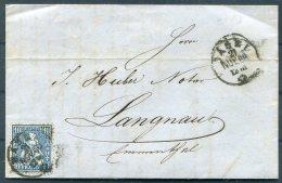 1866 Switzerland Entire Basel - Langnau - 1862-1881 Helvetia Assise (dentelés)