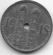 *notgeld Munchen 15 Pfennig 1918 Zn 9707.2 2 Mm Gel./F 348.1a - [ 2] 1871-1918: Deutsches Kaiserreich