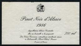 Etiquette De Vin // Pinot Noir D'Alsace - Etiquettes