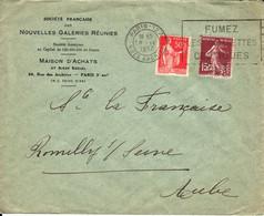 France Nouvelles Galeries Réunies Perforé NG 18 9 1937 Paris Sur Semeuse (perfin) - France