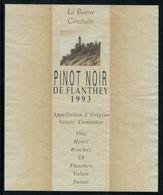 Etiquette De Vin // Pinot Noir De Flantey, Valais, Suisse - Labels