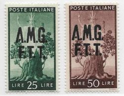 Trieste Zone A, Scott # 12-3 Mint Hinged Italy Stamps Overprinted, 1947 - 7. Triest