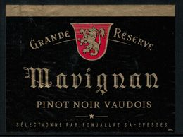 Etiquette De Vin // Pinot Noir Vaudois, Vaud, Suisse - Etiquettes