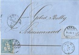 Faltbrief  Zürich - Aarau - Bally Schönenwerd          1867 - 1862-1881 Helvetia Seduta (dentellati)