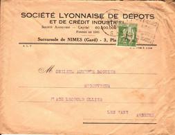 France Société Lyonnaise De Dépôts Perforé SL 28 12 1935 Nîmes Sur Type Paix (perfin) - France