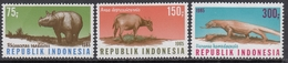 Indonesia 1985 - Wildlife: Rhinoceros, Anoa, Komodo Dragon - Mi 1187-1189 ** MNH - Indonesia