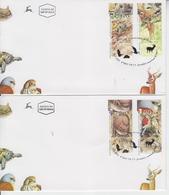 ISRAEL 2001 WILD ANIMALS TURTLE DEER PIPISTRELLE BAT KESTREL FALCON 2 FDC - FDC