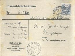 "NN Streifband  ""Amtsblatt Des Kantons Thurgau, Frauenfeld"" - Romanshorn          1938 - Briefe U. Dokumente"