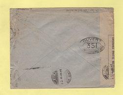 Chambon - Bloc Dateur Seul En Arrivee - Paris XIX 139 Av Jean Jaures - Enveloppe Illustree De Madrir Avec Censure - Marcophilie (Lettres)
