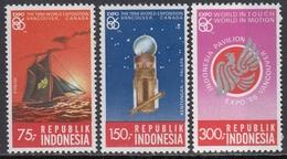 "Indonesia 1986 - World's Fair ""Expo '86"", Vancouver: Schooner, Satellite - Mi 1198-1200 ** MNH - Indonesia"
