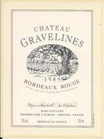 BORDEAUX ROUGE 1989 CHATEAU GRAVELINES (4) - Bordeaux