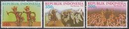 Indonesia 1986 - Traditional Dances - Mi 1205-1207 ** MNH - Indonesia