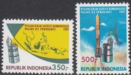 """Indonesia 1987 - Launch Of """"Palapa B2"""" Telecommunications Satellite - Mi 1220-1221 ** MNH - Indonesia"""