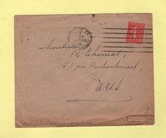 Krag 3e Generation - Paris 24 - 6 Lignes Droites Et Bloc Dateur Simple Cercle - 1926 - Marcophilie (Lettres)