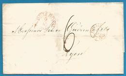 (D052) LAC De Amsterdam Vers Lyon Du 9/10/1856 - Entrée Pays-Bas Valenc. + Verso - Nederland