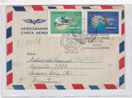 AEROGRAMA AEROGRAMME COLOMBIA CIRCULEE ARGENTINA OBLITRE 1RA EXPO FILATELICA INT AVIANGA  AÑO 1969- BLEUP - Colombia