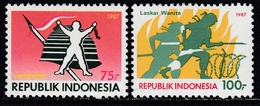 "Indonesia 1987 - ""Woman's Physical Revolution"": Barbwire, Helmet - Mi 1240-1241 ** MNH - Indonesia"