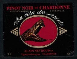Etiquette De Vin // Pinot Noir De Chardonne, Vaud, Suisse (serpent) - Etiquettes