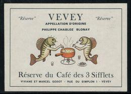 Etiquette De Vin // Réserve Du Café Des 3 Sifflets Vevey, Suisse (poissons) - Fishes