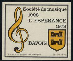 Etiquette De Vin // Tartegnin, Bavois, Société De Musique, Vaud, Suisse - Musique