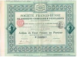Action Ancienne - Société Franco-Russe De Produits Chimiques Et D' Explosifs - Titre De 1895 N° 12.279 - Russie