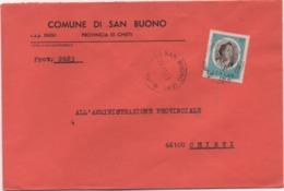 Buste Comuni D'Italia: Tiepolo £. 50 Su Busta Comune Di San Buono (Chieti) Datata Del 22.11.1973 - 6. 1946-.. Republic