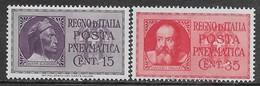 Italia Italy 1933 Regno Dante E Galileo Pneumatica Sa N.PN14-PN15 Completa Nuova MH * - 1900-44 Vittorio Emanuele III