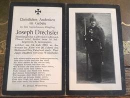Sterbebild Wk1 Bidprentje Avis Décès Deathcard IR16 Somme LONGUEVAL FRICOURT Aus Reisach - 1914-18