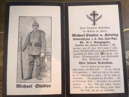 Sterbebild Wk1 Bidprentje Avis Décès Deathcard RIR18 Somme CLERY Aus Heining - 1914-18