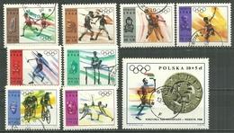 POLAND Oblitéré 1705-1713 JEUX OLYMPIQUES DE MEXICO Relais Boxe Escrime Basket Javelot Cyclisme - 1944-.... Republic