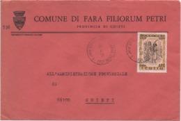 Buste Comuni D'Italia: Boccaccio £. 150 Su Busta Comune Di Fara Filiorum Petri (Chieti) Del 13.04.1976 - 6. 1946-.. Republic