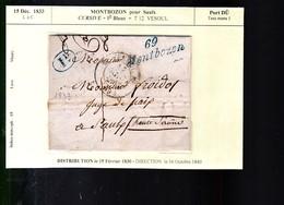 69   Montbozon  Pour Saulx  Année 1833    Cursive + Id Bleu  + T 12 Vesoul    Port Dû   Indice Marcoph :15  Sup - 1801-1848: Précurseurs XIX