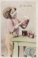 Une Serie De Cinq  Cpa .  La Petite Fille Et Les Pots De Confiture.  La Gourmandise !. Cuisine - Fancy Cards