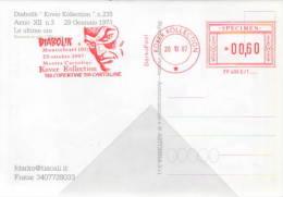Cartolina N,235 Diabolik Anno XLIII N,8 Quando Tutti Mentono  EMA- Specimen 20-10-2007  Montichiari Brescia - Bandes Dessinées
