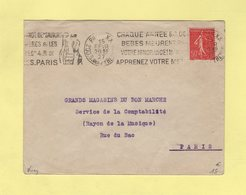 Krag - Paris XX - Sauvons Les Meres Et Les Bebes - 1927 - Oblitérations Mécaniques (flammes)