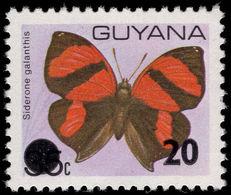 Guyana 1982 20c On 35c Anaea Galanthis Unmounted Mint. - Guyana (1966-...)
