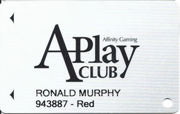 Affinity Gaming APlay Club Slot Card - Casinos In 4 States Listed On Back With Silver Sevens - Casino Cards