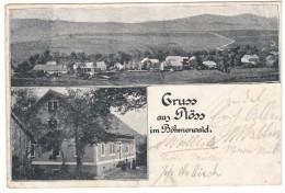 #5682 Czech, Ploss Im Bohmerwald, Breznik, Greetings Postcard Mailed 1900, Multiview: Panorama, Detail - Tsjechië