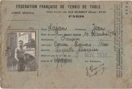 S3-  NERAC - FEDERATION FRANCAISE  DE TENNIS TABLE PARIS - RAQUETTE NERACAISE 1934 - 35 -  2 SCANS - Documentos Históricos
