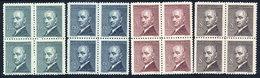 CZECHOSLOVAKIA 1946 President Benes Definitive In Blocks Of 4 MNH / **.  Michel 508-11 - Czechoslovakia